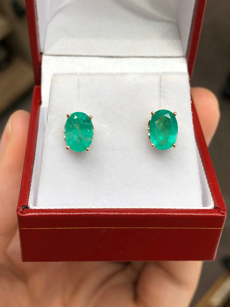 2.73tcw Fleur De Lis Oval Cut Colombian Emerald Stud Earrings 14K