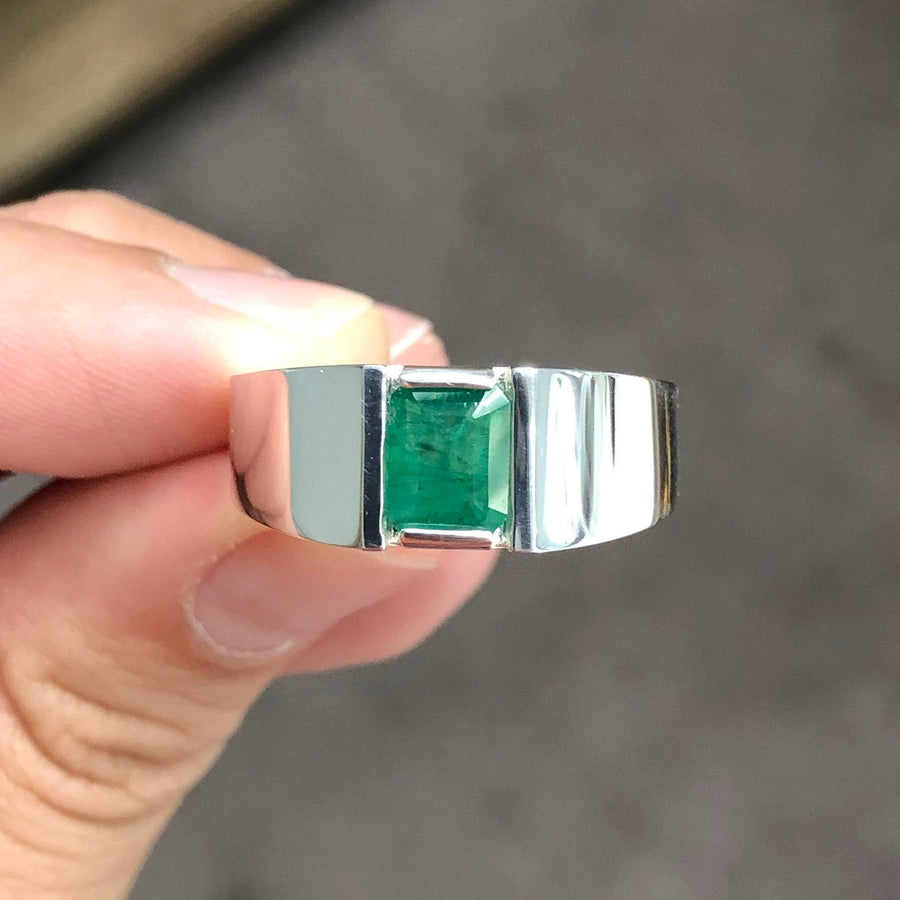1.22 Carats Mens Colombian Emerald Ring,Colombian Emerald Mens Ring, Emerald Mens Silver Ring, 925 Silver Emerald Ring, Men Emerald Ring