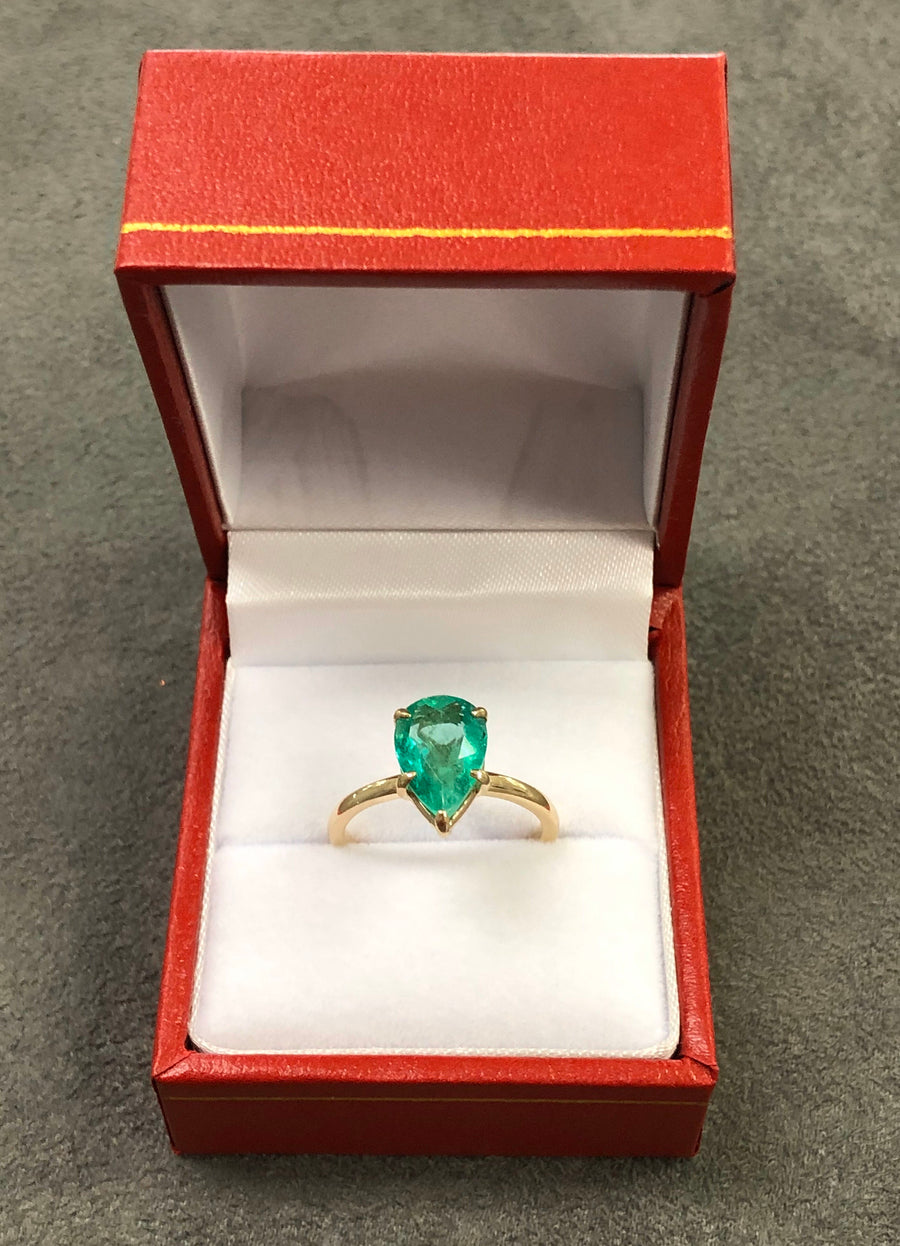 2.24 Carats Colombian Emerald Solitaire Gold Engagement Ring, 14K Emerald Engagement Ring, Teardrop Emerald Gold Ring, Pear Cut Gold Ring