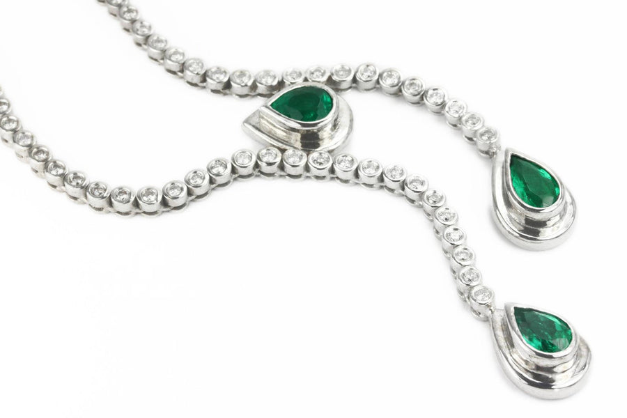 9.24tcw Pear Emerald & Diamond Lariat Statement Necklace 18K