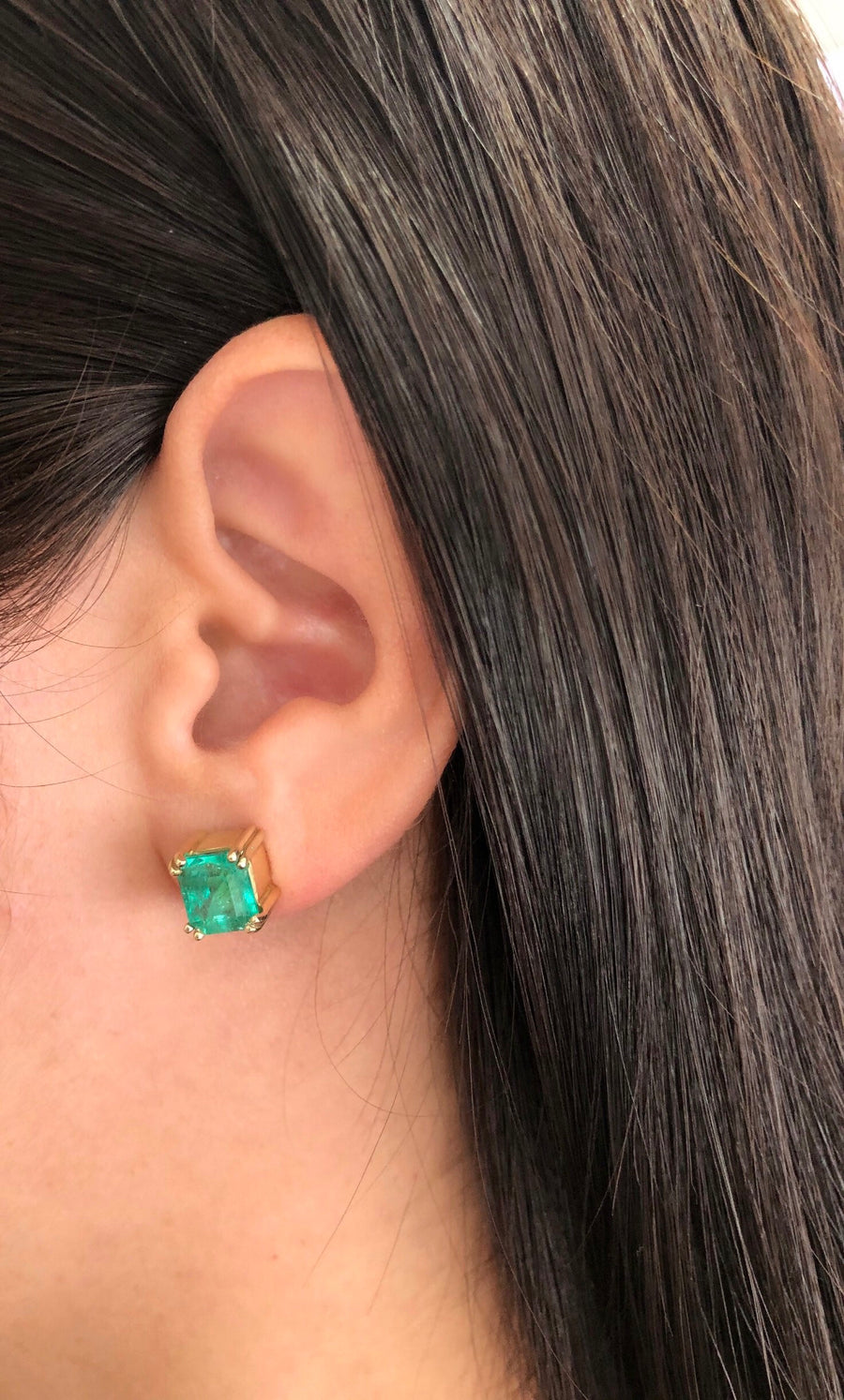 4.50tcw Vivacious Colombian Emerald Stud Earrings 14K