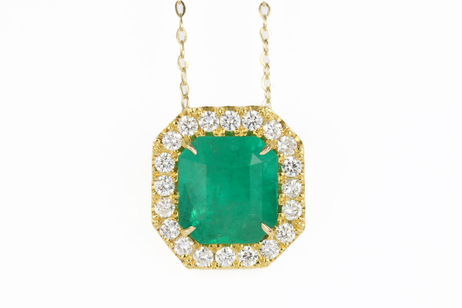 5.0tcw Natural Colombian Emerald & Diamond Halo Necklace