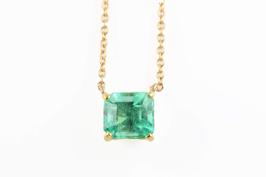ONLY FOR KANA 1.32 Carat Solitaire Colombian Emerald-Emerald Cut Necklace 14K
