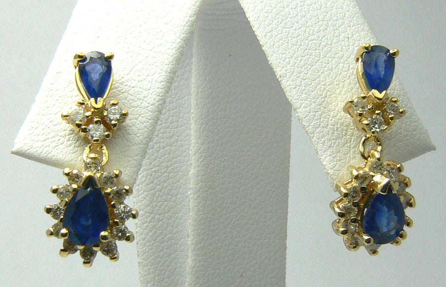 1.72tcw Sapphire & Diamond Chandelier Earrings 14k, Yellow Gold Sapphire Earrings, Sapphire Diamond Studs, Sapphire Diamond Halo, June Gift