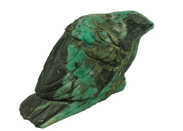 Handcarved Colombian Emerald Sparrow Sculpture in Matrix