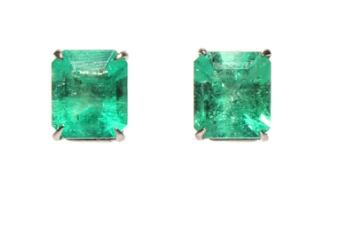 3.80tcw Colombian emerald stud claw earrings in 14K for Allison
