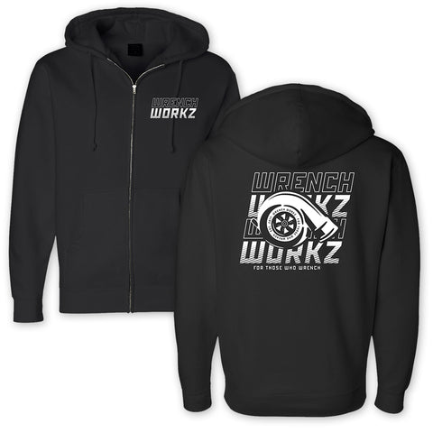 Stacked Turbo Zip Up Sweatshirt Black