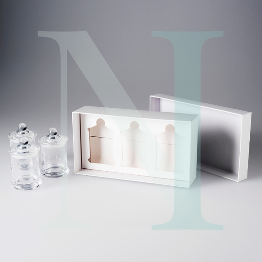 Small Knob Lid Danube Candle Box Trio Pack - White