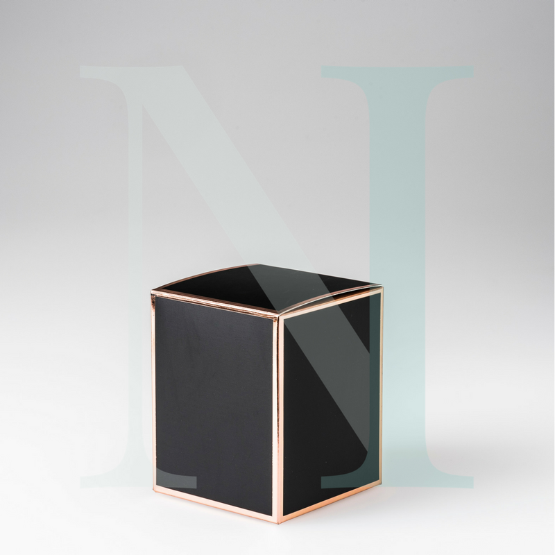 Large Cambridge Candle Box Black with Rose Gold Edge