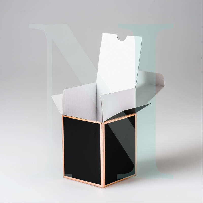 Medium Cambridge Candle Box Black with Rose Gold Edge