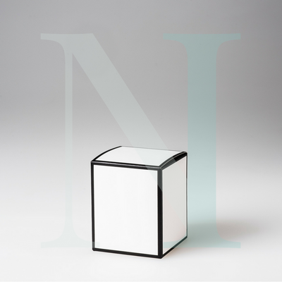 Medium Cambridge Candle Box White with Black Edge