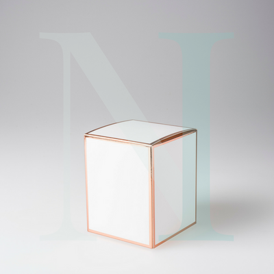 Large Cambridge Candle Box White with Rose Gold Edge