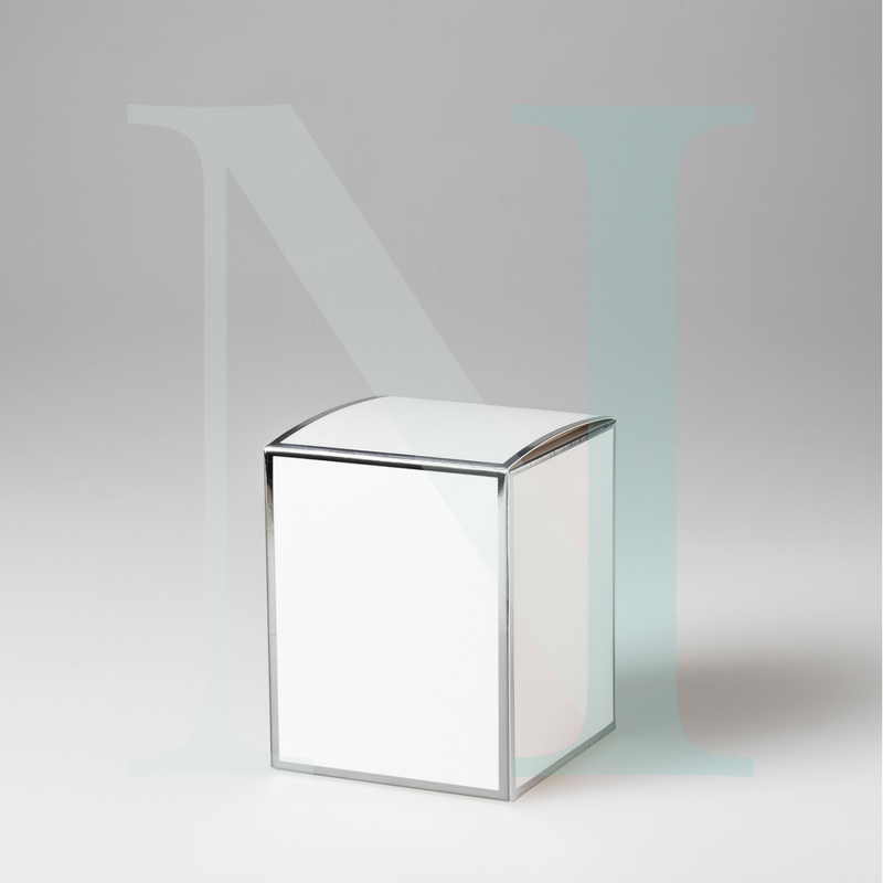 Large Cambridge Candle Box White with Silver Edge