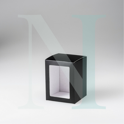 Medium Flat Lid Danube Candle Box Black with Window - DISCONTINUED