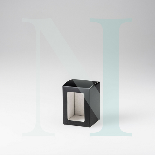 Small Flat Lid Danube Candle Box Black with Window