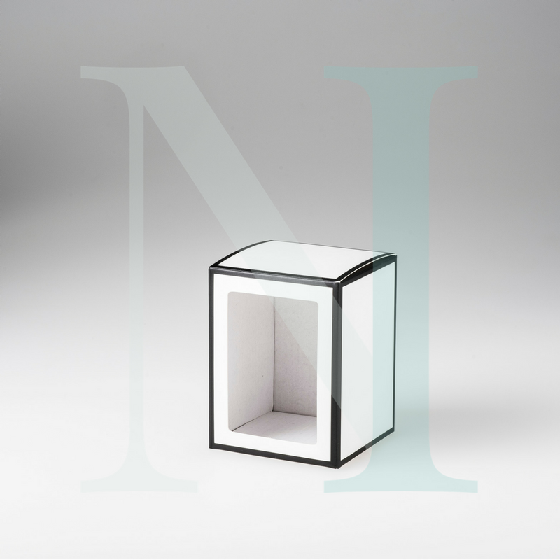 Medium Danube Candle Box White with Black Edge and Window