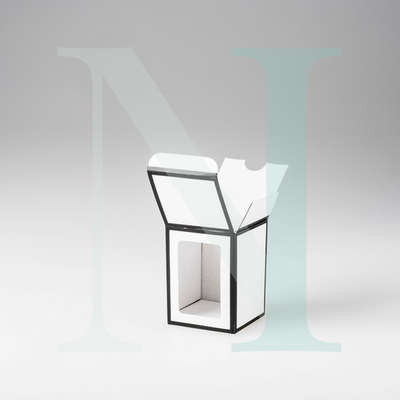 Small Danube Candle Box White with Black Edge and Window