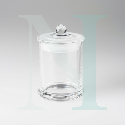 Clear Glass Danube Jar closed | Base with Knob Lid Large | NI Candle Supplies