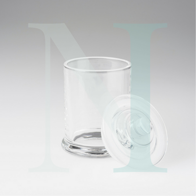 Clear Glass Jar  open lid open | Danube Base with Knob Lid Large | NI Candle Supplies