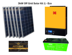 3kW Off Grid Solar Kit 2 - ECO - (PV Panels, Inverter & AGM Lead Acid Battery)