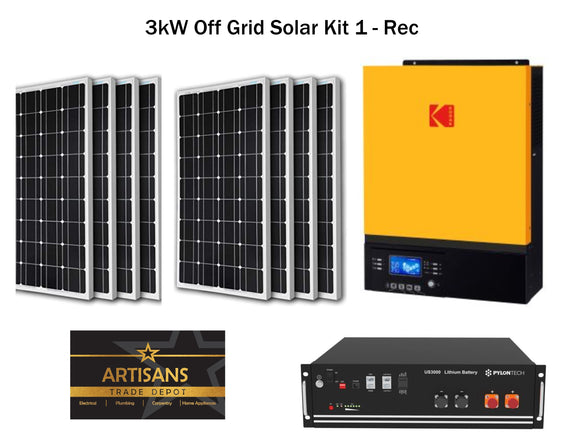 3kW Off Grid Solar Kit 1 - REC - (PV Panels, Inverter & Lithium Ion Battery)