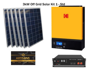 3kW Off Grid Solar Kit 1 - STD - (PV Panels, Inverter & Lithium Ion Battery)