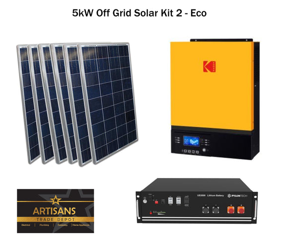 5kW Off Grid Solar Kit 2 - ECO - (PV Panels, Inverter & Lithium Ion Battery)