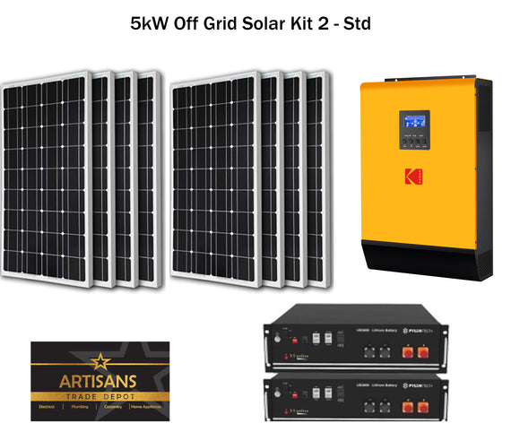 5kW Off Grid Solar Kit 2 - STD - (PV Panels, Inverter & Lithium Ion Battery)