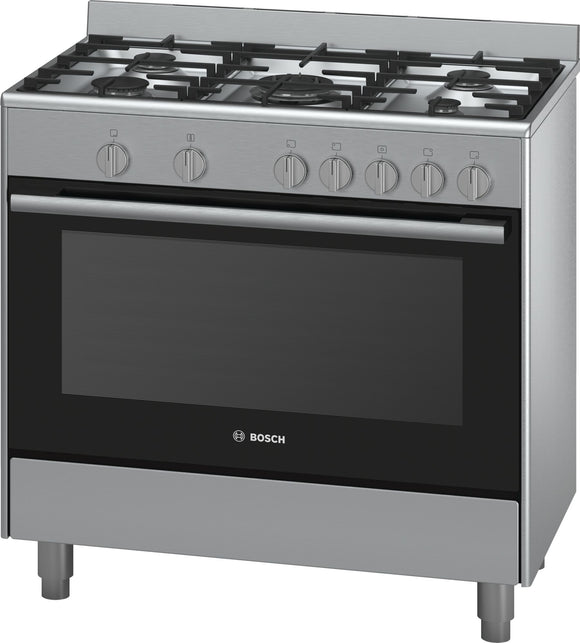 Bosch 90cm Free Standing Gas Cooker - Stainless Steel - Serie 2 - HSG734357Z