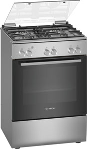 BOSCH 60cm Free Standing Gas Cooker - Stainless Steel - Serie 2 - HGA120E50Z