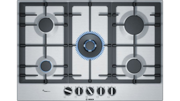 Bosch 75cm 5 Burner Gas Hob-With Wok Burner -Stainless Steel- Serie 6 - PCQ7A5B90Z