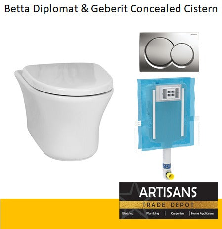 BETTA Diplomat Wall Hung Toilet - Concealed Cistern Combo