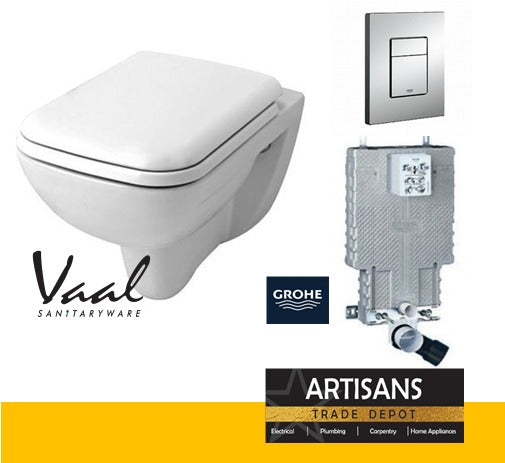 VAAL Urban Life Rimless Wall Hung Toilet Pan & GROHE Concealed Cistern