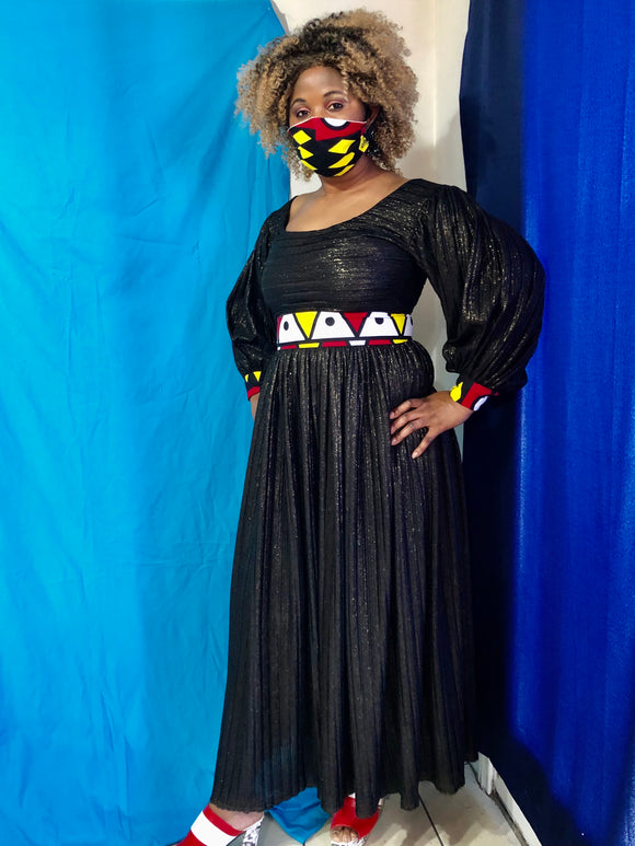 Black ViVi dress with matching masks
