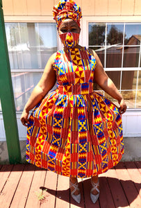 Nom Red Kente dress