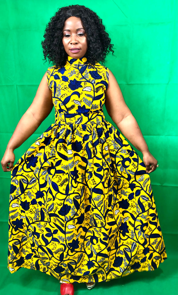 Nom yellow African print dress