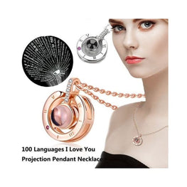 100 languages I love you Projection Pendant Necklace pendant accessories birthday gifts for friends her uk present ideas Apparel &