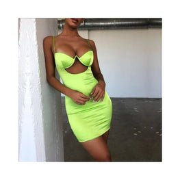 2 Layers Neon Cut-out Satin Dress Bodycon Clothing_dresses cut-out display-limited Apparel & Accessories > Clothing Outerwear 1