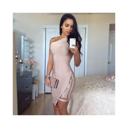 Bandage Sleeveless One-Shoulder Sequined Dress Foreverfly bandage going out dress - Bodycon - Clothing - Clothing_dresses - date night