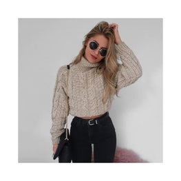 Cable-Knit Cropped Turtleneck Sweater Clothing display-limited jumper long sleeve multi-buy-prompt Apparel & Accessories > Outerwear Coats