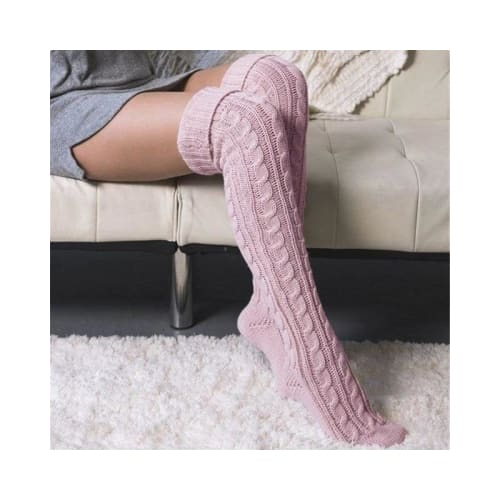 Cable Knit Over the Knee Socks