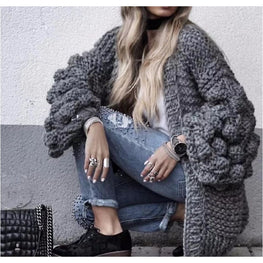 Crochet Lantern Sleeve Cardigan clothing Clothing_knitwear coat knitted