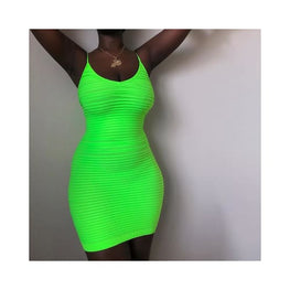 ELLA - Neon Green Spaghetti Strap Bodycon Bandage Dress clothing Clothing_dresses display-limited Dresses Apparel & Accessories > Clothing 1