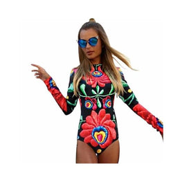 Flower Print Bodysuit body suit bodysuit Clothing_bodysuits Clothing_swimwear display-limited Body Suit 1