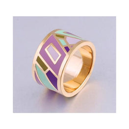 Geometric Stainless Steel Enamel Ring display-limited enamel geometric multi-buy-prompt new-arrivals 1