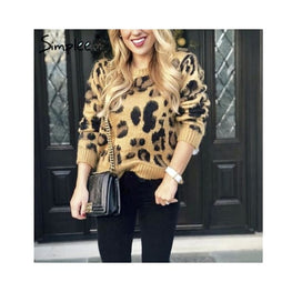 Leopard Print Knitted Pullover Sweater Foreverfly Store Clothing_animal-print - Clothing_knitwear - display-limited - knitted - leopard