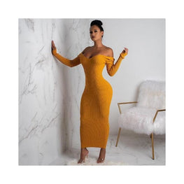 Long Sleeve Knitted Sweater Dress ForeverflyStore 2 piece - autum - Clothing_dresses - Clothing_knitwear - display-limited