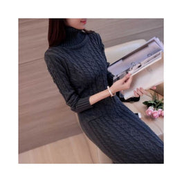 Long Sleeve Turtleneck Casual Knit Dress Foreverfly Store Clothing_dresses - Clothing_knitwear - display-limited - knitted