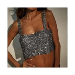 MEDINA SEQUINED METAL CROP TOP Foreverfly Store clothing - Crop Tops - crystal - display-limited - gold