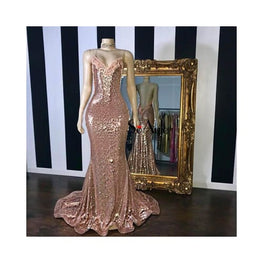 Mermaid Style Rose Gold Backless Sequin Gown Foreverfly Store backless - Clothing_dresses - display-limited - Dress - gown